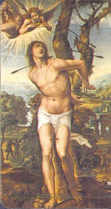 24kb jpg Saint Sebastian holy card, based on the painting 'San Sebastian', 1525, by Antonio Bazzi detto il Sodoma (1477-1549), Galleria Palatina, Firenze